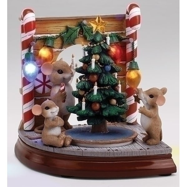 "7.25"" LED Lighted Musical Rotating ""Charming Tails"" Mouse Hole Scene with Christmas Tree"