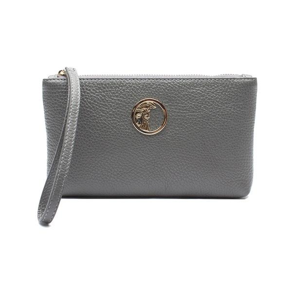 Versace Collection Medusa Logo Leather Wristlet Handbag - Grey - S