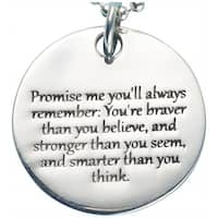 Women's Promise Me Christopher Robin Quote Pendant - Sterling Silver Engraved Necklace