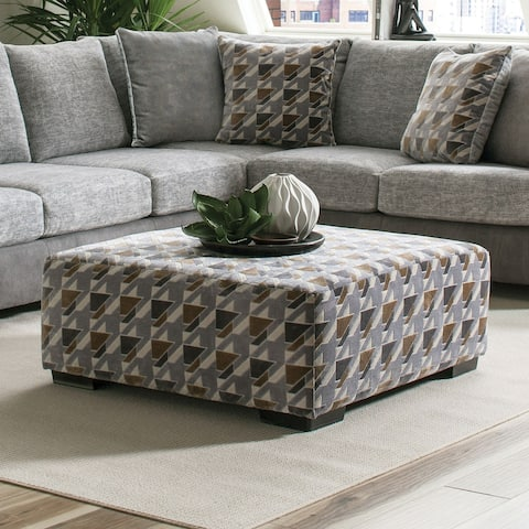 Furniture of America Hym Transitional Grey Solid Wood Cocktail Ottoman