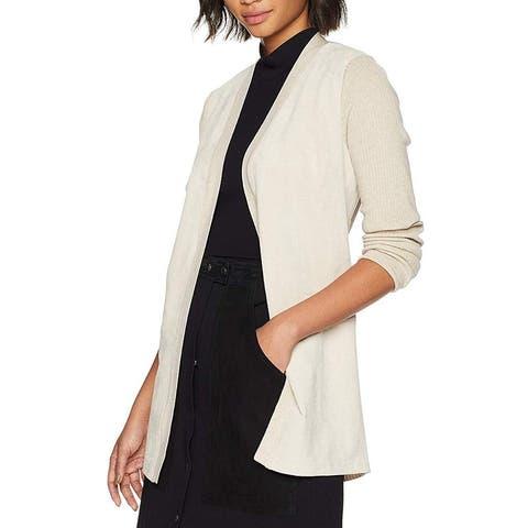 Calvin Klein Women's Jacket Beige Size Medium M Cardigan Faux-Suede