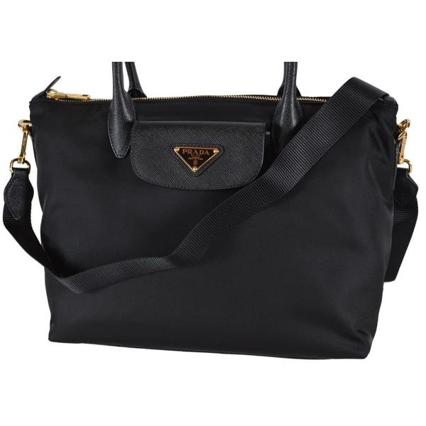 1ad2779888c9 Prada 1BA106 Tessuto Borsa A Mano Convertible Zip Top Handbag Purse - Black