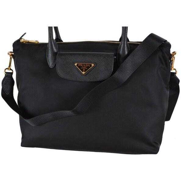 fc61d39f518f Prada 1BA106 Tessuto Borsa A Mano Convertible Zip Top Handbag Purse - Black