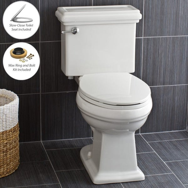 Miseno MNO240C Two-Piece High Efficiency Toilet with Elongated ADA Height Bowl, Slow Close Seat, Decorative Trip Lever and Wax