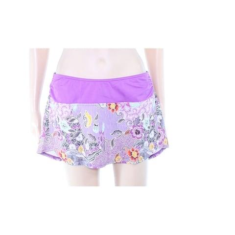 prAna Womens Swimwear Purple Size Medium M Swim Skirt Foral Print