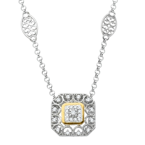 1/10 ct Diamond Filigree Necklace in Sterling Silver & 14K Gold