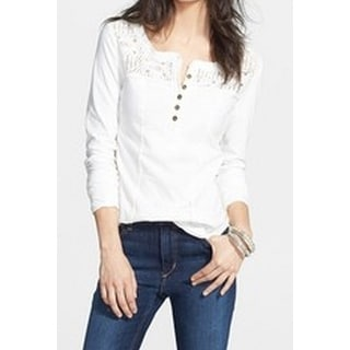 Free People NEW White Women's Size XS Solid Crochet Henley Seamed Blouse