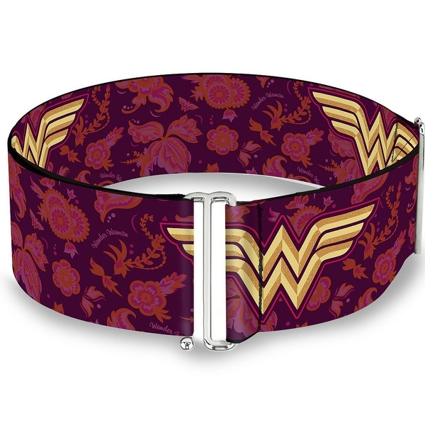 Wonder Woman Logo Floral Collage Purple Pinks Gold Cinch Waist Belt ONE SIZE