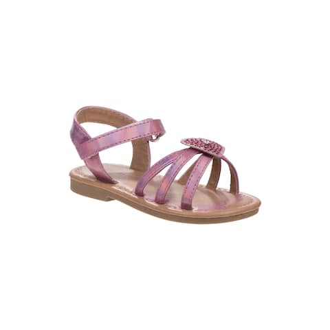 Laura Ashley Pink Stone Heart Strap Sandals Little Girls