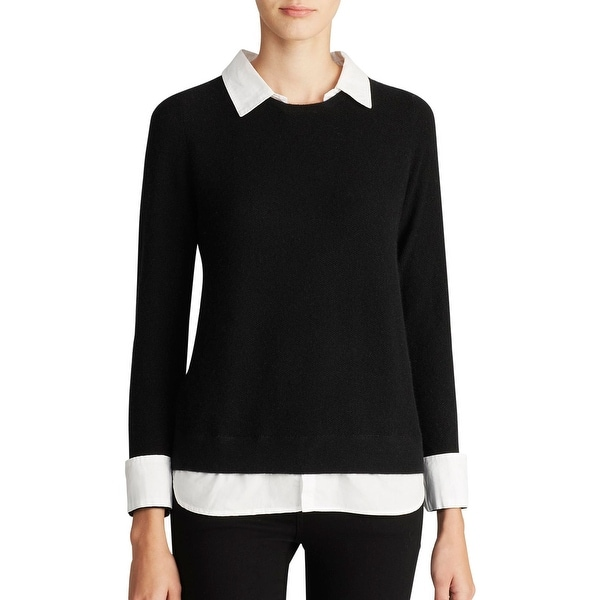 Joie Womens Rika Pullover Sweater Wool Blend Contrast Trim