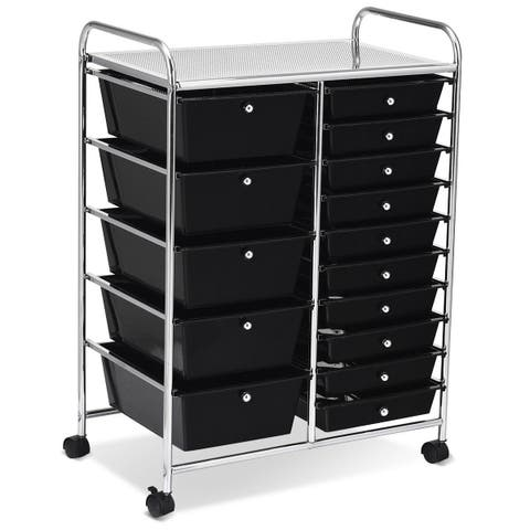 Costway 15 Drawer Rolling Organizer Cart Utility Storage Tools Scrapbook Paper Multi-Use