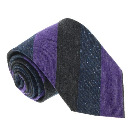Missoni U5120 Grey/Purple Awning Pure Silk Tie - 60-3