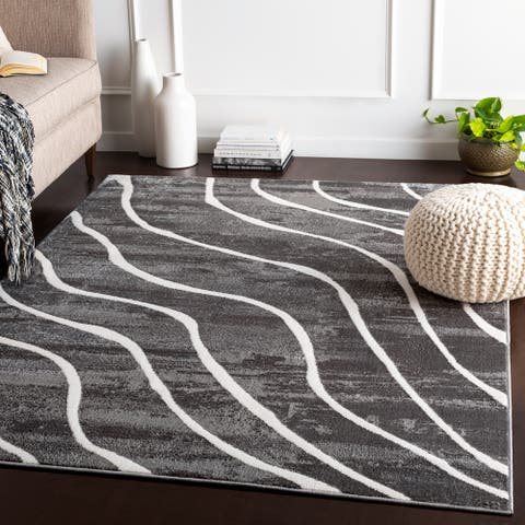 "Liliane Charcoal Transitional Area Rug - 5'3"" x 7'3"""