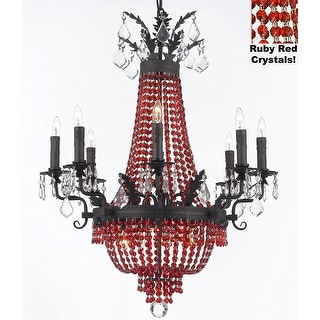 Moroccan Style Chandelier With Red Crystals