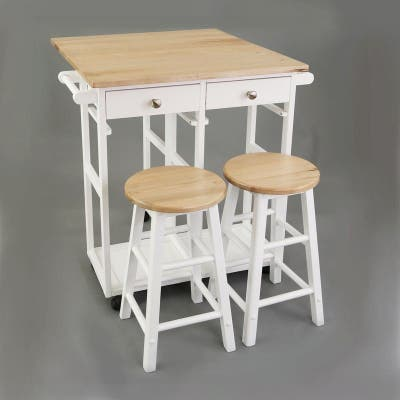 Wooden Breakfast Cart with Drop-Leaf Table, American Maple Top - N/A