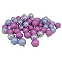 "60ct Pink Lavender Shatterproof 4-Finish Christmas Ball Ornaments 2.5"" (60mm) - PURPLE"