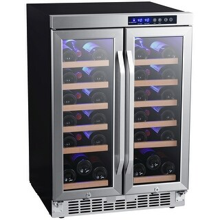 """EdgeStar CWR362FD  24"""" Wide 36 Bottle Built-In Wine Cooler with Dual Cooling Zones and French Doors - Stainless Steel"""