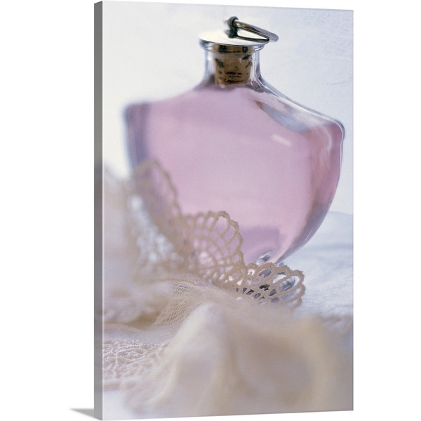 """""""Bottle of perfume with lace"""" Canvas Wall Art"""