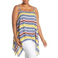 Vince Camuto Blue Women's Size 2X Plus Striped Handkerchief Blouse