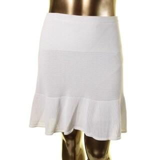 Rachel Rachel Roy Womens Ribbed Knit Perforated Flare Skirt