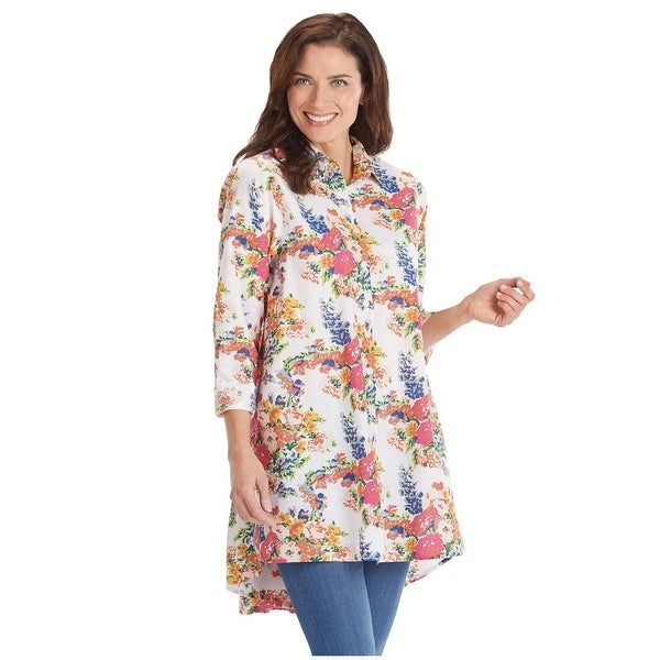 14f9b82b2ff Tulip Womens' Hi Low Button Front Tunic Top - Floral Print Long Sleeve