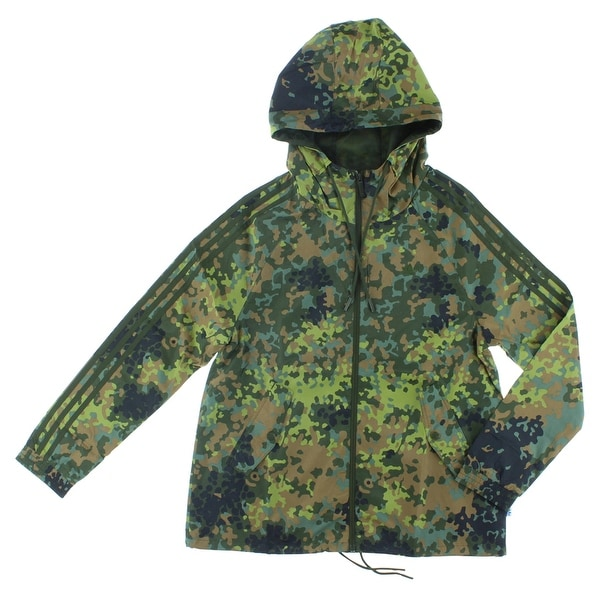 e00b0af7146c0 Adidas Womens Allover Camo Windbreaker Jacket Multi Color - multi  color camo print green