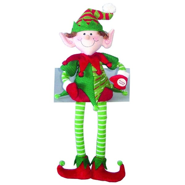 "18"" Musical Jolly Christmas Elf in Red and Green Shelf Sitter Decorative Figure"