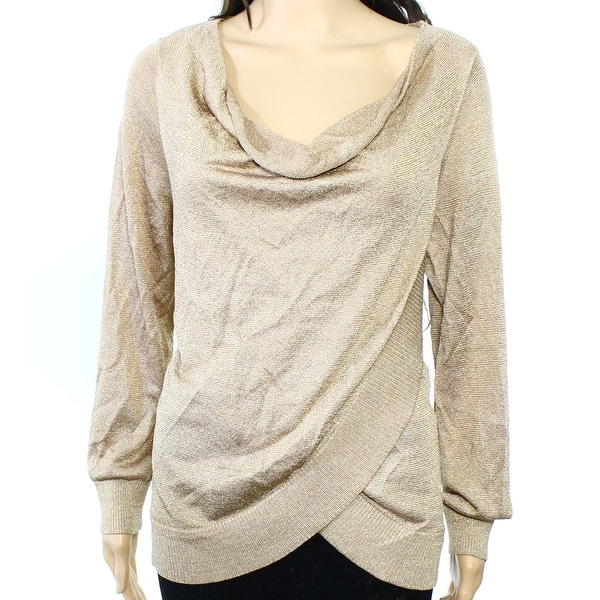 INC NEW Gold Womens Size Small S Metallic Draped Cowl Neck Sweater ...