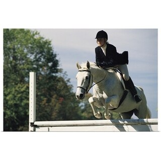 """""""Horse jumping in equestrian event"""" Poster Print"""