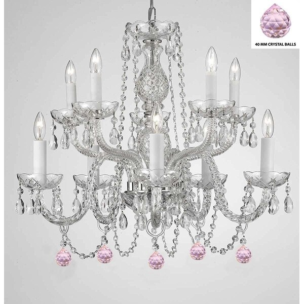 Empress Crystal (TM) Chandelier Lighting with Pink Color Crystal Balls