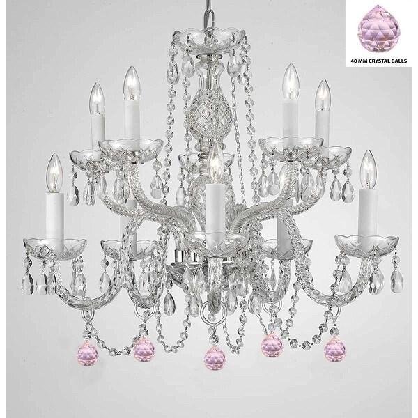 Swag Plug-In Empress Crystal (TM) Chandelier Lighting With Pink Crystal Balls