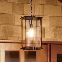 "Luxury Craftsman Outdoor Pendant Light, 20""H x 10""W, with Craftsman Style, Gold Trimmed Design, Estate Bronze Finish"