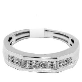 10K White Gold Wedding Band Mens 1/10cttww Diamonds 5mm Wide By MidwestJewellery