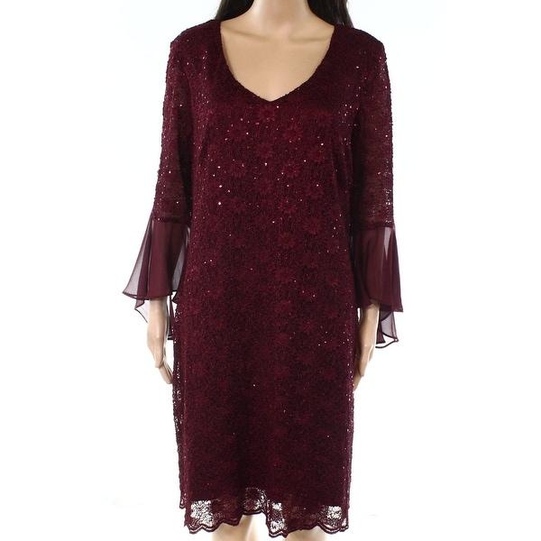 Connected Apparel Purple Womens Size 8 Sequin-Lace Sheath Dress