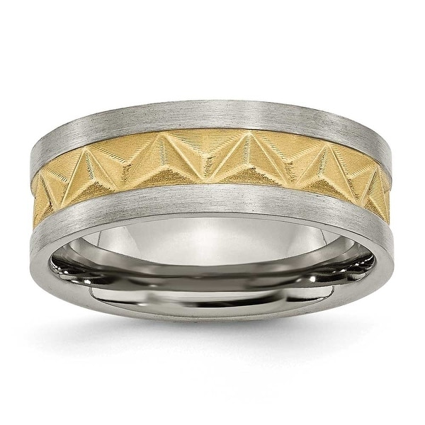 Chisel Titanium Satin and Gold Plated Mens 8mm Band