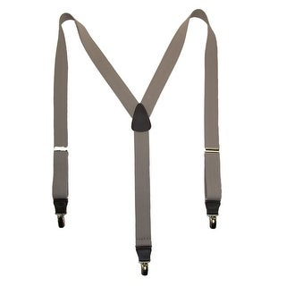 CTM® Men's Big & Tall Elastic Clip End Premium Solid Suspenders - One Size