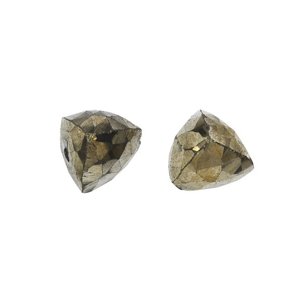 Pyrite Gemstone Beads, Faceted Puff Pyramids 6x7mm, 6 Pieces, Gold