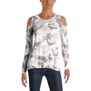 Aqua Womens Sweater Camo Cold Shoulder