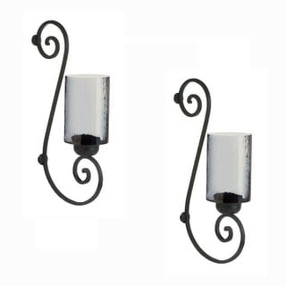 Set of 2 Smoked Glass Wall Sconces