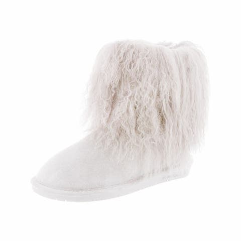 Bearpaw Casual Boots Womens Boo TPR Rubber Sole Curly Lamb Wool