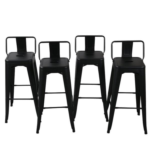 Belleze 30 Inch Barstools Black Bar Stools Low Back Set Of 4
