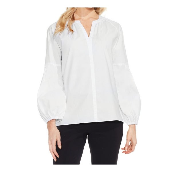 664b928d Shop Vince Camuto White Womens XL Split Neck Cotton Puff Sleeve Blouse - Free  Shipping On Orders Over $45 - Overstock - 22385490