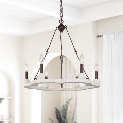 Transitional Antique 6-light Wood Wagon Wheel Chandelier Ceiling Pendant