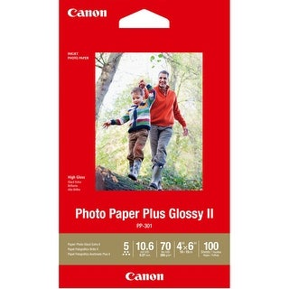 "Canon PP-301 Photo Paper Plus Glossy II (4 x 6"", 100 Sheets) - White"