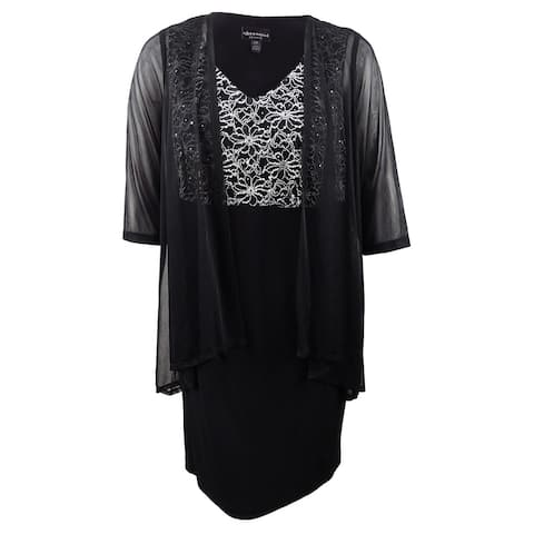 Connected Women's Plus Size Lace & Sheer Jacket Dress - Black/Silver