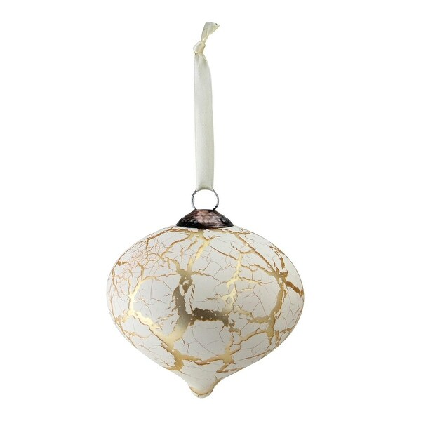 "4.5"" Gold and Cream Accented Crackle Finish Glass Christmas Onion Ornament"