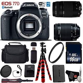 Canon EOS 77D DSLR Camera with 18-55mm is STM Lens & 75-300mm III Lens + Flexible Tripod + Card Reader - Intl Model