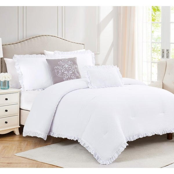 Portland Solid 5-Piece Washed Ruffled Comforter Set. Opens flyout.