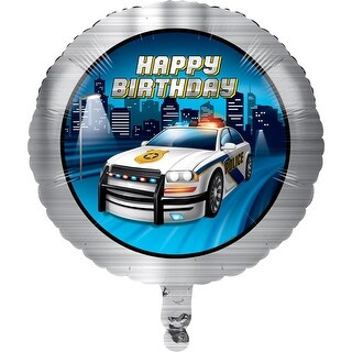 Club Pack of 10 Gray and Dark Blue Police Car Theme Metallic Balloon 8