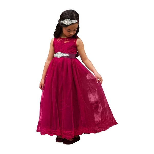 6928694bb92 Little Girls Wine Sash Lace Bow Floor Length Scarlett Flower Girl Dress